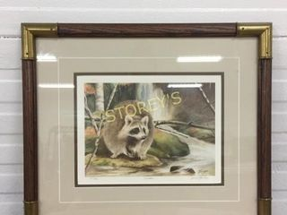 lE Framed Racoon Picture