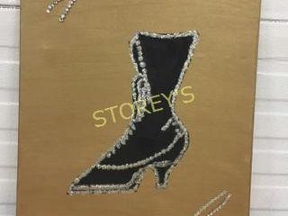 Signed Glitter Boot Canvas Artwork