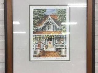 Framed Garden House Signed Picture
