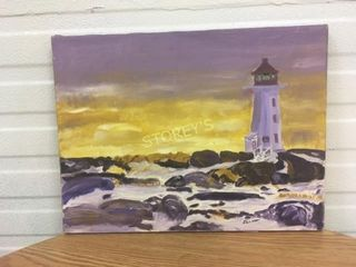 Canvas lighthouse Picture   signed