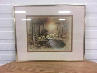 Framed Signed River Picture