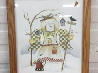 Framed Snowman Picture   signed
