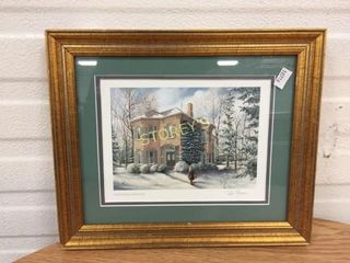 Framed Signed Winter House Picture