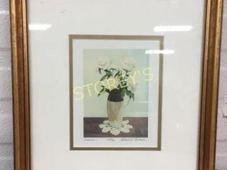Signed Vase Picture   framed