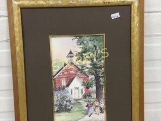 Framed Garden School House Picture