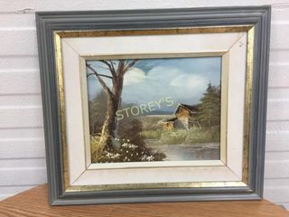 Framed River House Picture