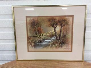 Framed River Picture   signed