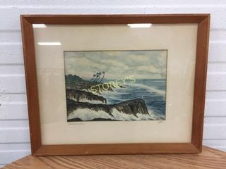 Signed Beach Waves Picture