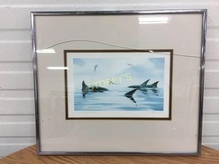 Whales Picture   Signed   Cracked Glass