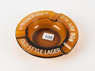 WAlKERVIllE ROB ROY AlE AMBER GlASS ASHTRAY