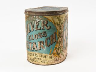 VINTAGE SIlVER GlOSS STARCH EMBOSSED 6 lBS TIN