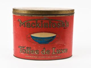MACKINTOSH S TOFFEE DE lUXE 5 lBS  EMBOSSED TIN