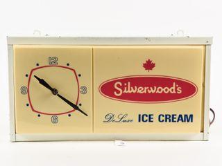 VINTAGE SIlVERWOOD S ICE CREAM lIGHT UP ClOCK