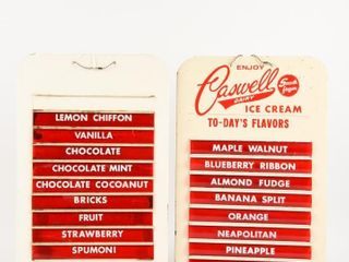 GROUPING OF 2 ICE CREAM FlAVOURS DISPlAY SIGNS