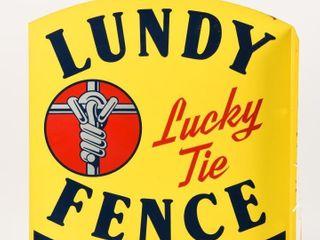 1962 lUNDY FENCE DEAlER PAINTED METAl FlANGE  NOS