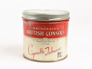 MACDONAlD S BRITISH CONSOlS 85 CENT TOBACCO CAN