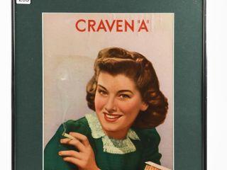 FRAMED CRAVEN  A  CIGARETTE CARDBOARD POSTER