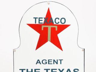 TEXACO AGENT SSP DIECUT TOMBSTONE SHAPE SIGN   NEW