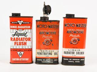lOT 3 MOTO MASTER SOlDER  RADIATOR FlUSH  OIl CANS