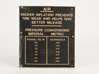 1960 S SERVICE STATION TIRE INFlATION S S SIGN
