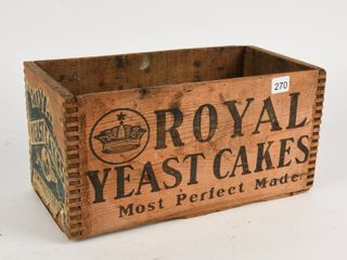 ROYAl YEAST CAKES WOODEN BOX   NO lID