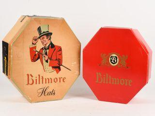 lOT OF 2 VINTAGE BIlTMORE HAT BOXES ONlY