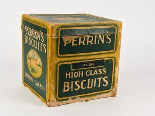 VINTAGE PERRIN S BISCUITS CARDBOARD BOX