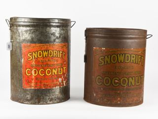lOT OF 2 SNOWDRIFT COCONUT 25 lBS METAl CANS