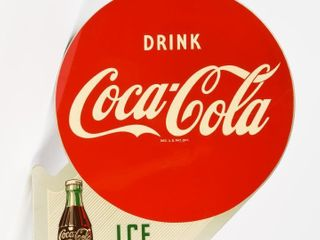 1957 DRINK COCA COlA ICE COlD PAINTED METAl FlANGE