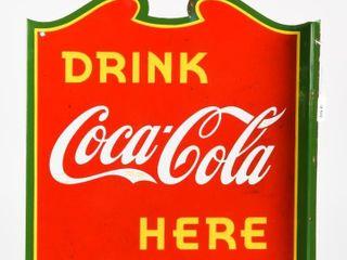 DRINK COCA COlA HERE PORCElAIN FlANGE