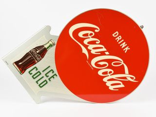 1953 DRINK COCA COlA ICE COlD PAINTED METAl FlANGE