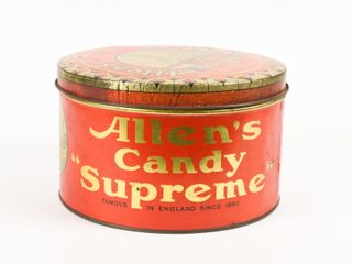 VINTAGE AllEN S CANDY  SUPREME  TOFFEE CAN