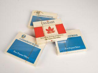 lOT OF 4 CANADIAN BlEND 25 CIGARETTE PACKAGES  NOS