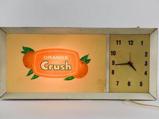 1966 ORANGE CRUSH ElECTRIC SIGN ClOCK