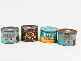 lOT OF 4 VINTAGE RED ROSE ONE POUND COFFEE TINS