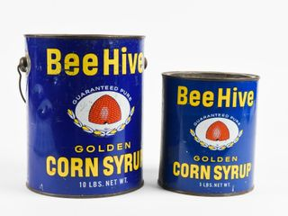lOT OF 2 BEE HIVE GOlDEN CORN SYRUP TINS