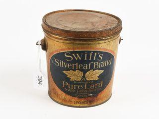 SWIFT S  SIlVERlEAF  BRAND PURE lARD 3 POUNDS PAIl