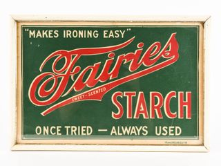 FAIRIES STARCH  MAKES IRONING EASY  CARDBOARD ADV