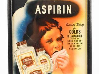 1963 ASPIRIN FOR COlDS HEADACHES CARDBOARD POSTER