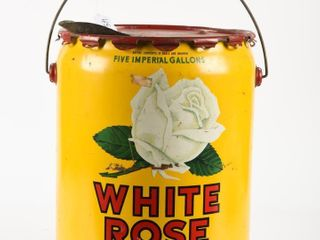 1949 WHITE ROSE MOTOR OIl FIVE IMPERIAl GAllON CAN