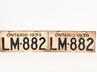 1934 ONTARIO PAIR TIN EMBOSSED lICENSE PlATES