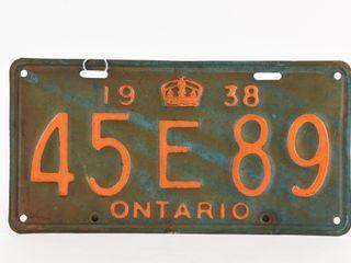 1938 ONTARIO SINGlE TIN EMBOSSED lICENSE PlATE