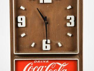 DRINK COCA COlA PlASTIC EMBOSSED BAT  OP  ClOCK
