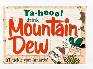 1966 YA HOO DRINK MOUNTAIN DEW SST EMBOSSED SIGN