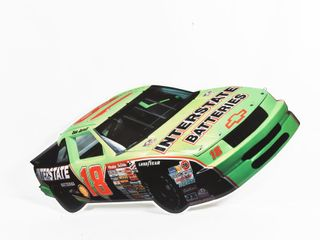 INTERSTATE BATTERIES EMBOSSED  18 RACE CAR SIGN