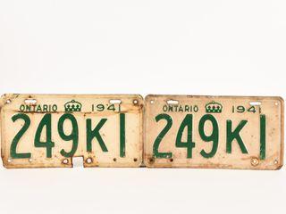 1941 ONTARIO PAIR TIN EMBOSSED lICENSE PlATES