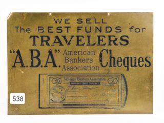 AMERICAN BANKERS ASSOCIATION S S BRASS SIGN