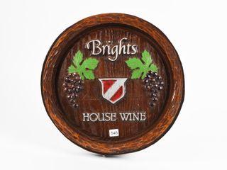 BRIGHTS HOUSE WINE BARREl lID ADV  WAll PlAQUE