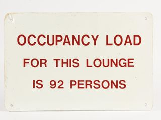lOUNGE OCCUPANCY 92 PERSONS S S DECAl SIGN   NEW
