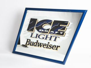 BUDWEISER ICE lIGHT DRAFT ADVERTISING MIRROR